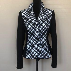 WHBM Black Ivory Tweed Contrast Side Panel Jacket
